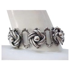 Book Chain Bracelet with Sterling Silver Flowers