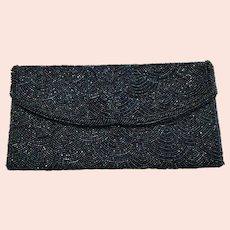 12 - Exquisite Beaded Clutch Bag Purse - Iridescent Blue