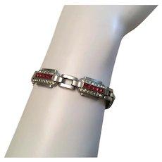 Gorgeous Art Deco Bracelet Pink Rhinestones The Real Thing