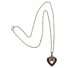Sterling Silver Gold Vermeil Ruby Pendant Necklace