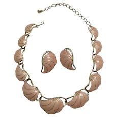 Trifari Pink Enamel Shell Necklace,  Earrings