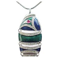 D'Orlan Enamel & Rhinestone Fish Necklace - Just Wonderful!