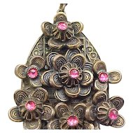 Beautiful Art Nouveau Necklace - Floral with Rose Pink Rhinestones