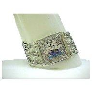 Outstanding Sterling Filigree Bracelet with Enamel Plaques