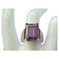 Sterling Silver Ring Purple Stone - Modernist Design - size 8