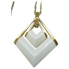 Stylish Trifari Necklace - Double Pendant - Creamy White