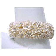 Pretty Celluloid Floral Bracelet with Rhinestones