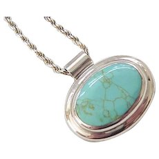 Gorgeous Sterling and Turquoise Pendant, Sterling Chain