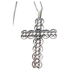 Beau Sterling Filigree Cross and Chain