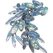 Gorgeous  Molded Art Glass Rhinestone Pin, Earrings - Blue and Aqua