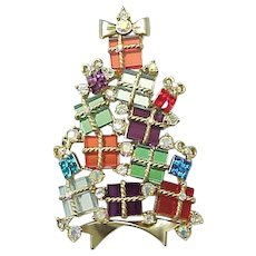 Spectacular Avon 2007 Christmas Tree Pin - Glass Packages