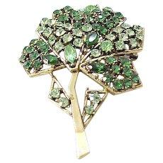 Stunning Weiss Green Rhinestone Tree Pin