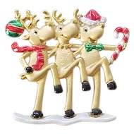 12 - 3 Reindeer Holiday Pin - Dancing the Can-Can
