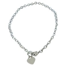 Sterling Silver Cable Chain Necklace with Heart Charm