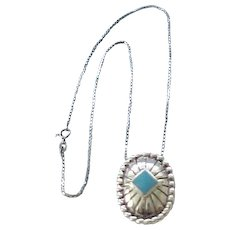 01 - Sterling Silver and Turquoise Pendant Necklace Chain