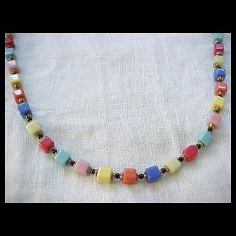 Charming and Colorful Czech Bead Necklace