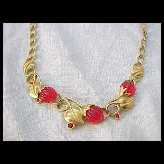Superb Kunio Matsumoto Red Berries Necklace