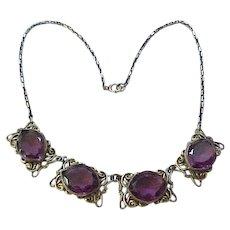 Exceptional Czech Necklace - Purple Rhinestones