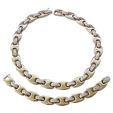 Elegant Panetta Necklace and Bracelet - Pave' Set Rhinestones
