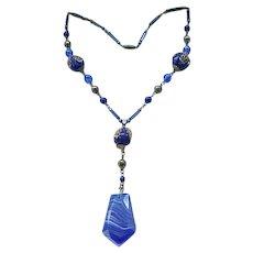 Lovely Czech Necklace - Deep Blue Molded Glass Beads, Art Glass