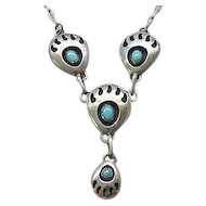 Kathleen Chavez Bear Paw Necklace - Sterling and Turquoise