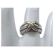 12 - Sterling Silver Ring Brass Overlay - Size 7 1/4