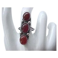 Custom Made Carnelian and Sterling Silver Ring - size 8 1/4