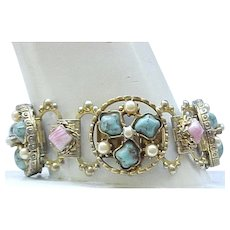 Outstanding Book Chain Bracelet - Turquoise and Pink
