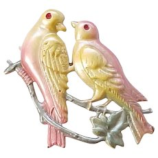 10 - Stamped Metal Bird Pin - Colorful