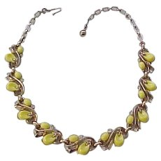Lovely Trifari Pebble Beach Necklace, Bracelet - Yellow