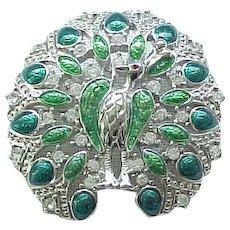 02 - Trifari Peacock Pin Enamel and Rhinestones