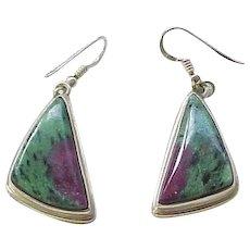 Sterling Earrings Pierced - Ruby in Zoisite