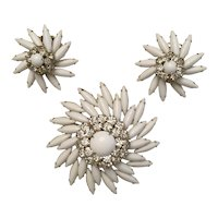 Spectacular Judy Lee White Cab and Diamante' Rhinestone Brooch, Earrings