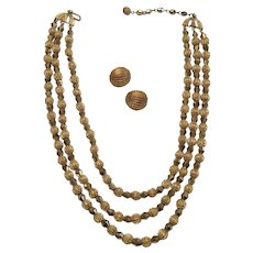 3 Strand Trifari Necklace and Earrings