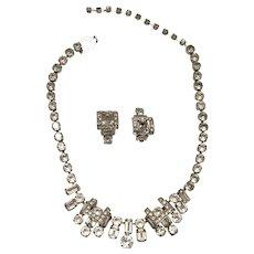 FAB Eisenberg Rhinestone Necklace,  Ear Clips - Wedding, Special Occasion