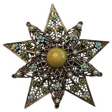Star Shaped Brooch Unsigned ART - Enamel Flowers