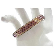 Art Deco Celluloid Bracelet Gold Dust and Red Rhinestones