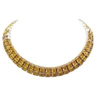 Superb Deco Style Amber Rhinestone Necklace
