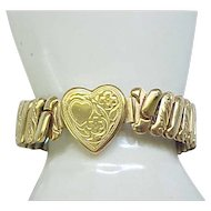 Sweetheart Expansion Bracelet - Heart Center with Embossed Floral and Heart Design