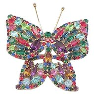 Magnificent Weiss Rhinestone Butterfly Pin - Book Piece