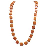Butterscotch Bakelite Necklace - Square Beads