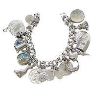 Loaded Sterling Silver Charm Bracelet - 22 Charms - 75 grams