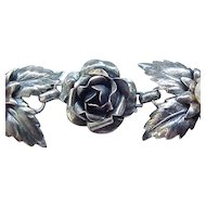 Outstanding Sterling Silver Rose and Leaf Bracelet - 1940's
