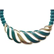 Pretty Teal Enamel Monet Necklace with Teal Beads