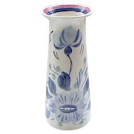 Lovely Blue Ridge Hand Painted Mood Indigo Vase