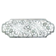 Exquisite 14K White Gold Filigree Pin with Diamond Center