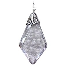 Y Shape Necklace Etched Glass Pendant, Crystal Beads