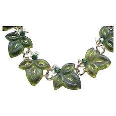 Awesome Lisner Leaf Necklace, Bracelet, Earrings - Olivine