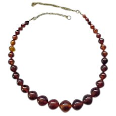 Vintage Amber Necklace with Inclusions