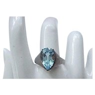 Sterling Silver Ring - Pale Blue Marquise Stone - Size 10